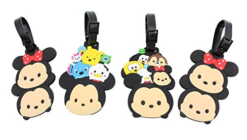 Finex 4 Pcs Set Stackable Mickey Mouse Minnie Mouse Silicone Travel Luggage Baggage Identification Labels ID Tag for Bag Suitcase Plane Cruise Ships with Belt Strap