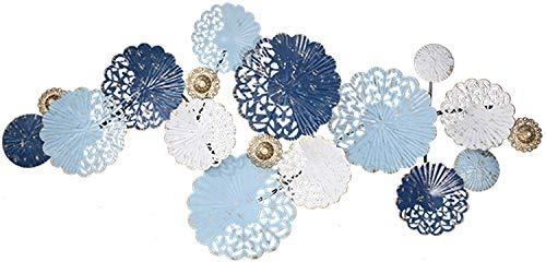 Gymqian Obra de Arte Grande de la Pared de Metal Arte de la Pared, Decoración de la Pared de la Serie de Flores Hueco Azul, American Pared Del Hierro Labrado Escultura de la Pared d