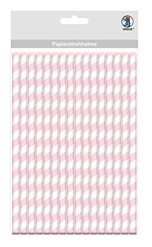 Papieren rietjes met strepen motief in roze, biologisch afbreekbaar, geschikt voor levensmiddelen, waterbestendig, voor het vormgeven en decoreren, 16 stuks, lengte 19,5 cm, diameter 0,8 cm