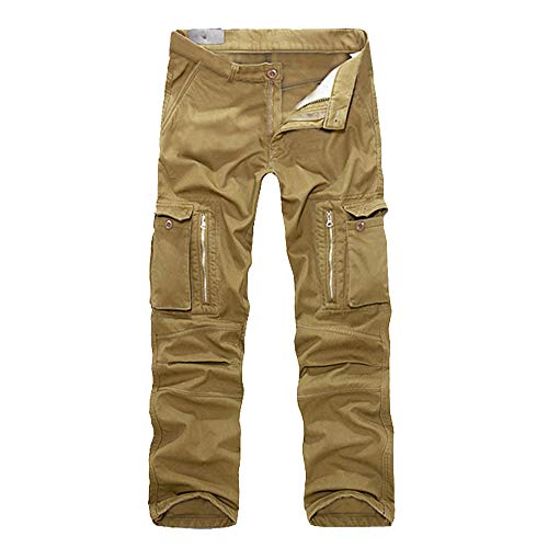 Casual Men's Cotton Multi-Pocket Outdoors Work Cargo Long Pants Trouser