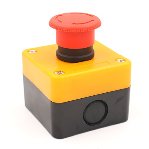 Baomain Red Sign Emergency Stop Switch Push Button Weatherproof Push Button Switch 660V with Box