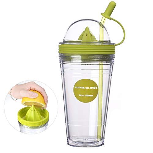 Citroenschaal, Creative Juice Cup, kunststof, kopje van rietje, voor volwassenen, creatief, kunststof, met deksel, Home Office beker, capaciteit 560 ml, waterfles
