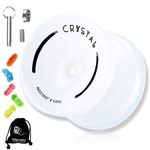 MAGICYOYO K2 Plus Crystal Responsive Yoyo for Kids, Dual Purpose Yo-yo for Beginner, Replacement Unresponsive Bearing for Intermediate Advanced, 5 Yo-yo Strings, Bag, Bearing Remover (Crystal Cream)