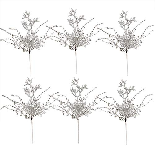 DearHouse 6 Pack Silver Christmas Picks, 12.8 Inch Artificial Flower for Christmas Tree Ornaments, DIY Xmas Wreath, Crafts, Holiday and Home Decor