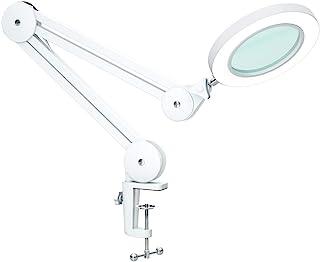Lámpara de Aumento LED Ampliación 5X con Brazo Oscilante de Metal, Atenuación Continua, 3 Modos de Color, Lente de Vidrio ...