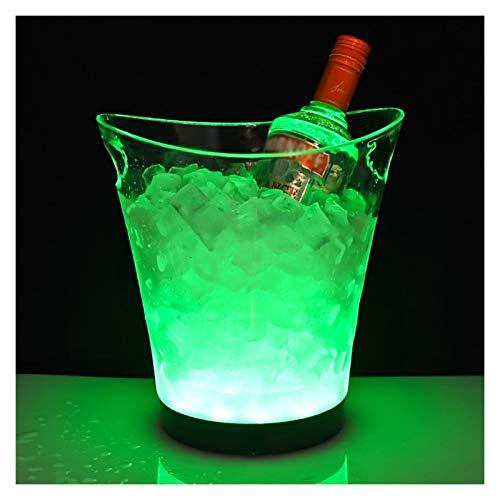 YIBANG-DIANZI Cubo de Hielo Cubo de Hielo LED 5L refrigerador de Vino Redondo Mango Doble Colorido Cubo de Hielo Luminoso con 9 Perlas de lámpara para la Barra de la casa para Fiestas Familiares