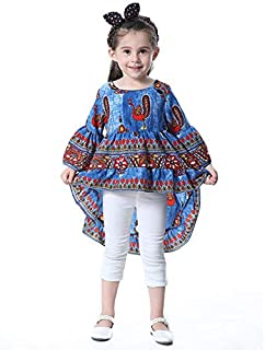 Fragil Tox Tops Kid Girls Peacock Printed Round Neck Bell-Sleeve Tops Dark Blue Multi Medium 90