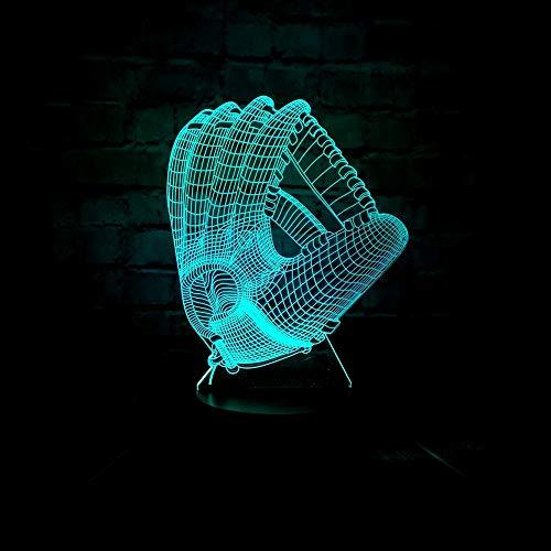 3D Optische Täuschung Baseballhandschuh Lampe Kinder Nachtlicht Baby Kinderzimmer Nachtlicht für Kinderzimmer Home Decor Weihnachten Geburtstag Geschenke mit 7 Farbwechsel