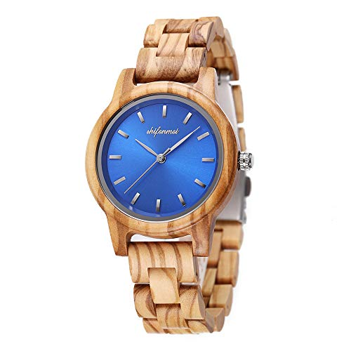 Reloj de madera para mujer, shifenmei ligero reloj de mujer hecho a mano personalizado grabado reloj de madera para mujer, reloj analógico de cuarzo personalizado con caja exquisita natural