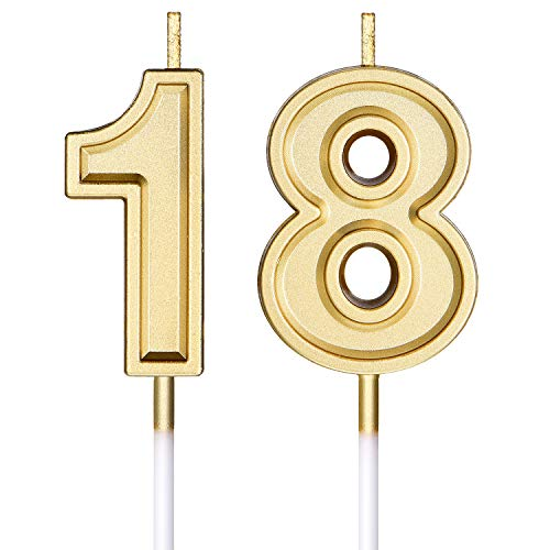 Syhood 18th Birthday Candles Cake Numeral Candles Happy Birthday Cake Candles Topper Decoration for Birthday Party Wedding Anniversary Celebration Supplies
