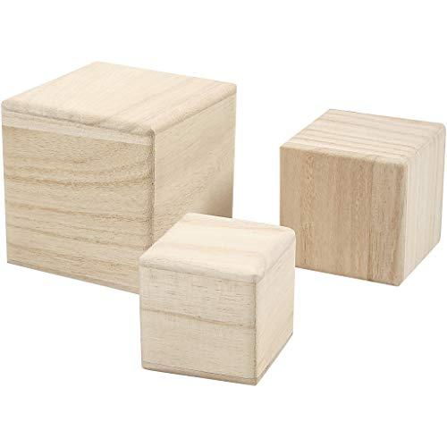 Empress Wood Lot de 3 Cubes en Bois 5-6-8 cm