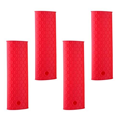 NICEXMAS 4Pcs Silicone Poignée Chaude Manchon de Support Couvercle Résistant à La Chaleur Manchon de Poignée en Caoutchouc pour Poêles à Frire Grils Manchon (Rouge)