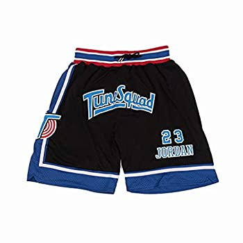 Mens Space Jam #23 Tune Squad Basketball Movie Shorts Sports Pants Stitched Black M