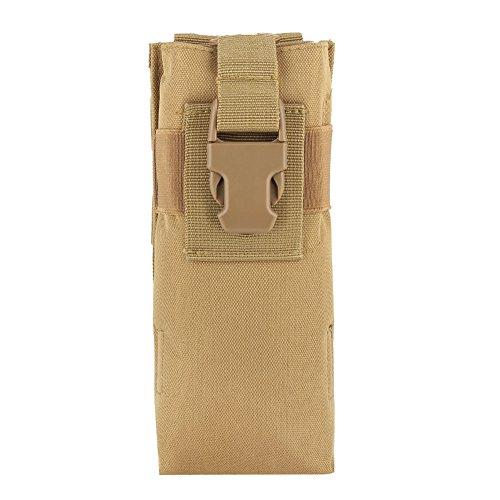 TANKE Bolsa de almacenamiento militar ligera de nylon del interfono de la botella de agua para Molle Syste (Khaki) 20 X 8.5 X 6cm