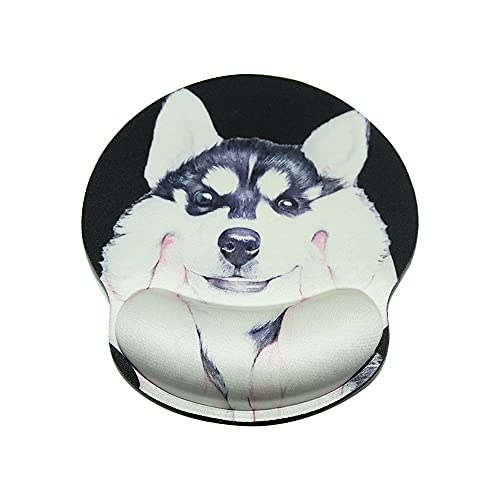 Ergonomic Mouse pad with Wrist Support,Non Slip Mouse pad Wrist Bracket Suitable for Office,Computer, Laptop and MAC - Durable,Comfortable,Light,Easy to Type and Relieve Pain(Siberian Husky)