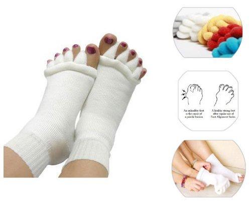 Chaussettes Confortables D'Alignement de Pied D'Orteils - Maux et douleurs / Hammertoes / Oignons / Crampes / Boule de Douleur - BLANC