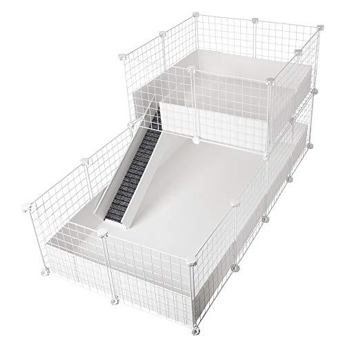 CagesCubes C&C Deluxe Käfig für Meerschweinchen, Boden 2x4 Gitterelemente + Plattform 2x2 Gitterelemente, Weiß + weiße Coroplast-Bodenwanne