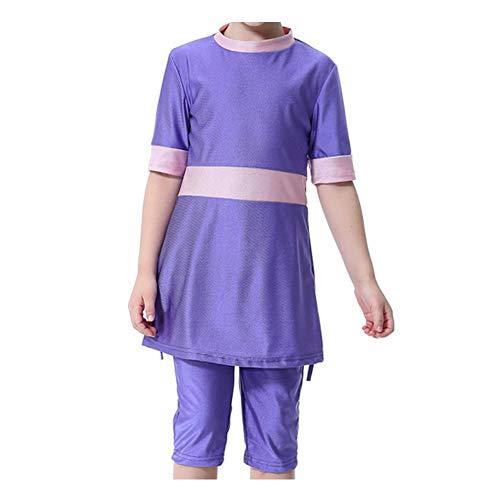 Xinvivion Mädchen Bescheiden Muslimische Badebekleidung - 3 Stücke Sommer Burkini mit Schwimmhaube islamisch Mittlerer Osten Arabisch Tankinis Beachwear Badeanzug für Kinder