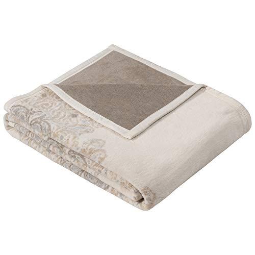 Ibena Bagheria Kuscheldecke 150x200 cm - Decke mit Ornamenten wollweiß grau, Leicht zu pflegene & kuschelweiche Baumwollmischung