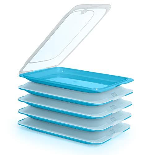 PracticFood Tatay Porta Embutidos y Alimentos Sistema Fresh, Conservación Optima de Lonchas en Nevera, Medidas 25.2 x 17 x 3.2 cm (5X Azul)