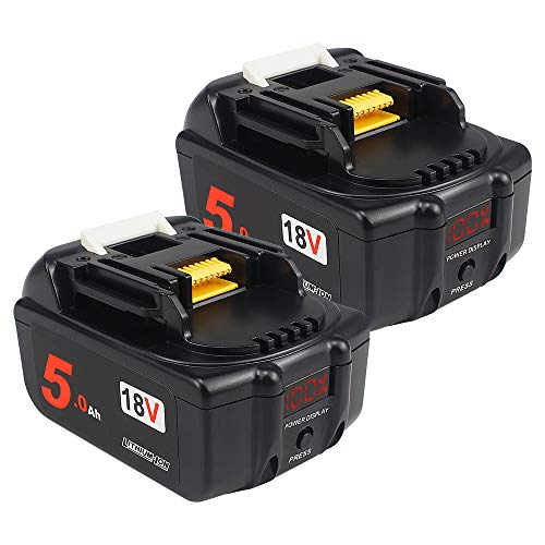 AMICROSS 18V 5.0Ah bl1850B-2 Li-ion Replacement Batteries(with LED Power Display) Compatible with Makita XMT03Z XAG04Z XTR01Z 5007Mg XSS02Z XPH12Z XDT131 XCV11Z XT269M 2PACK