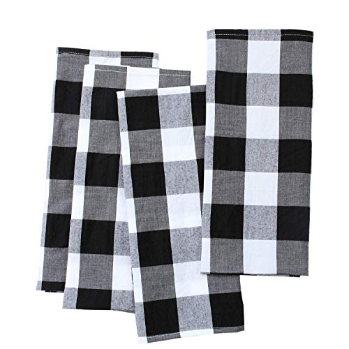 Aneco 4 Pack Check Plaid Dish Towels Oversized 18 x 28 inches Cotton Kitchen Dish Towels Fast Drying Cotton Tea Towels for for Drying Cleaning Cooking Baking - Black and White
