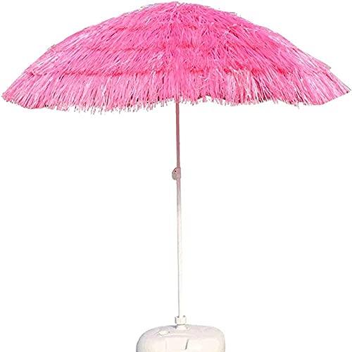 WSDSX Sombrilla Jardin,Paraguas de Patio Rosa Redondo de 7.8 pies, sombrilla de Playa Hawaiana de Paja, sombrilla de Playa sombrilla para Exteriores a Prueba de Viento, para Piscina, pequeño jardín