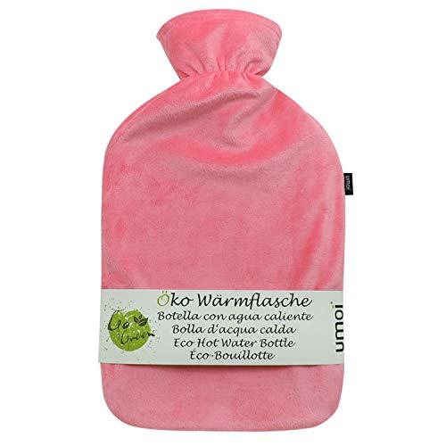 Borse di acqua calda premium da 1,8 litri con copertura in pile coreano Supersoft di alta qualità con zip e fodera extra - certificato BS1970:2012 - nuovo modello - approvato TÜV (rosa)