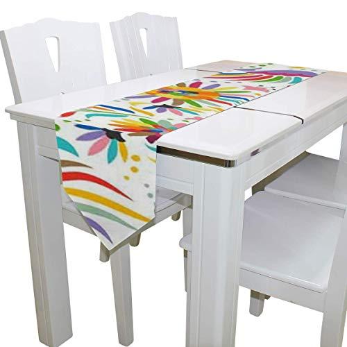 N/A eettafel loper of dressoir sjaal, Mexicaanse kleurrijke sierlijke etnische vogel bloem dek tafelkleed loper koffie mat voor bruiloft partij banket decoratie 13x90IN