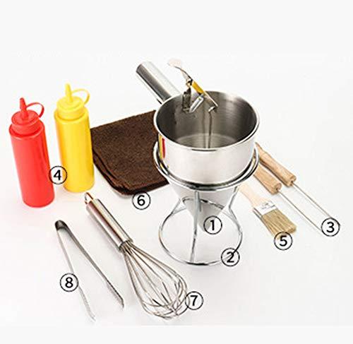 Trechter met zuiger en stator, roestvast staal voor pannekoekbeslag, kleine octopusballen, cakejes, Teigspender met houder, keukengerei, trechters gereedschappen