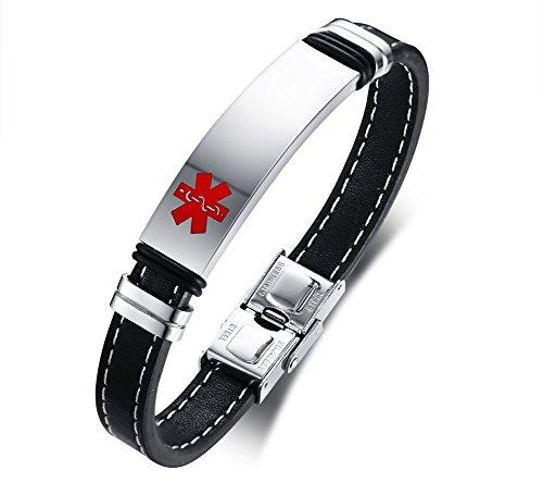 VNOX Pulsera Personalizada del Brazalete del Cuero Genuino Identificación Médica Alerta Acero Inoxidable,Grabado Libre