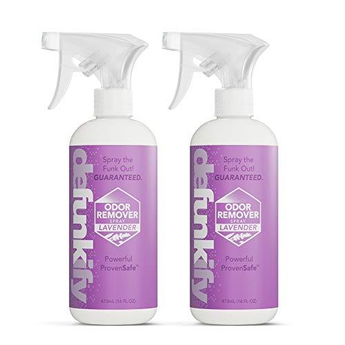 Defunkify Natural Shoe Deodorizer Spray, Odor Eliminator for Smelly Feet & Shoes, Gym Bag Deodorizer, Active Wear Instant Odor Remover - Organic Essential Oils + Ionic Sliver - Lavender 16 FL (2PK)