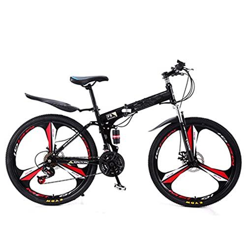 XHJJ Bicicleta Plegable 21-24 Velocidades Acero Al Carbono 24-26 Pulgadas Rueda Bicicleta De Montaña para Adultos Rojo,Portaequipajes Trasero,Guardabarros Delanteros Y Traseros