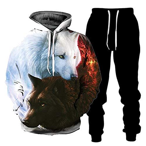 DREAMING-Sudadera con capucha con estampado 3D, camiseta informal suelta, suéter, traje de pareja, cuello alto de manga larga de primavera y otoño + pantalones, traje deportivo S