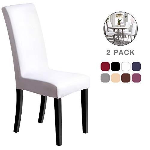 Fundas para sillas Pack de 2 Fundas sillas Comedor Fundas elásticas, Cubiertas para sillas,bielástico Extraíble Funda, Muy fácil de Limpiar, Duradera (Paquete de 2, Blanco) - J