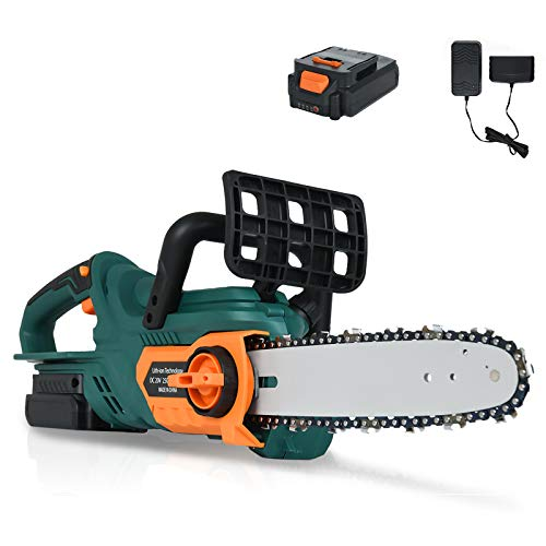 SUNCOO 20V Max Cordless Chainsaw, 10-Inch Battery Powered Chain Saw, Lithium-Ion Battery and Charger Included