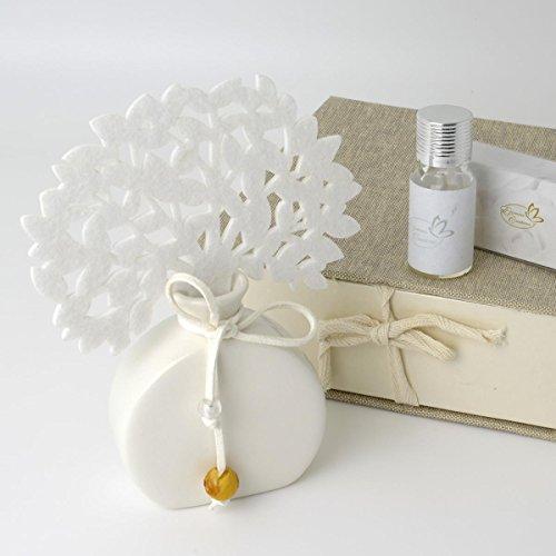 Diffusore/profumatore per ambienti a tema albro della vita bianco con base a forma di ampolla,essenza inclusa completo di scatola rivestita in tessuto - regali natalizi,pensierini per casa per natale