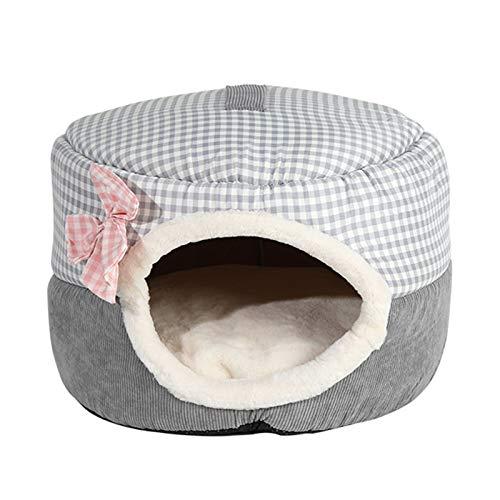 AchidistviQ Tienda de campaña para gatos, cojín extraíble y lavable, cama para perros, cama de cojín suave, cálida y suave, para interior de mascotas, tienda de campaña azul L