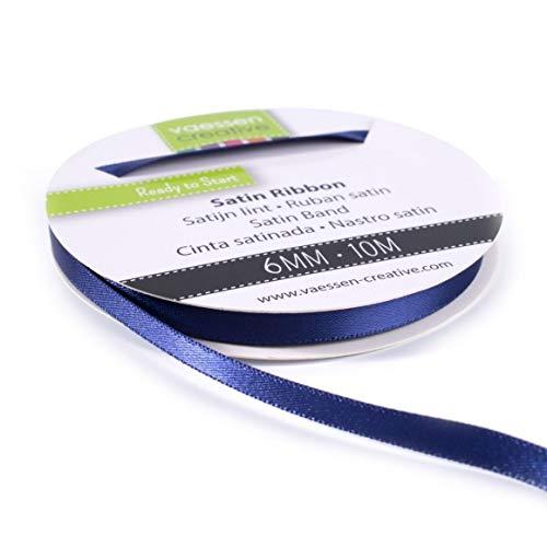 Vaessen Creative 301002-1014 Satinband Dunkelblau, 6 mm x 10 Meter, Schleifenband, Dekoband, Geschenkband und Stoffband für Hochzeit, Taufe und Geburtstagsgeschenke, 6MM