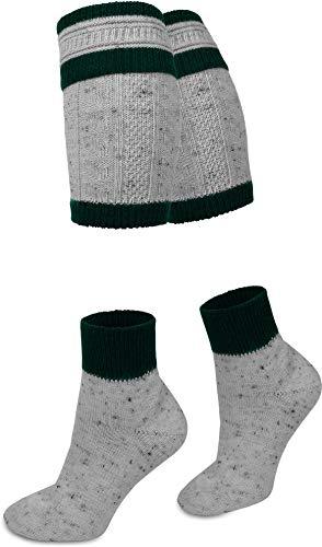 Circle Five Woll Trachtensocken aus Tweed Garn mit Loferl Wadenwärmern Farbe Grau/Dunkelgrün Größe 39/42