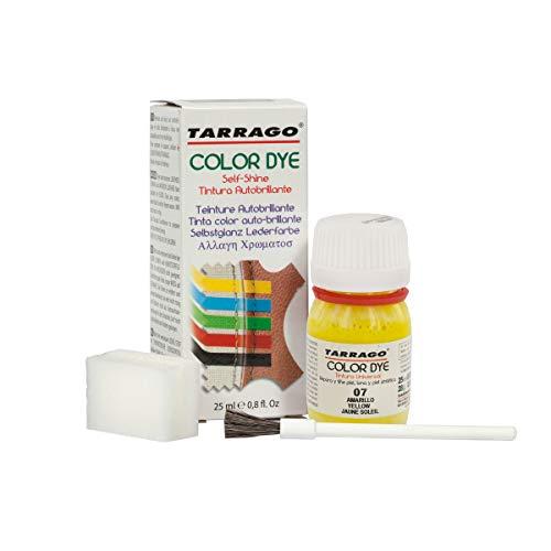 Tarrago | Self Shine Color Dye 25 ml | Tinte Para Cuero y Lona de Acabado Brillante Para Teñir Zapatos y Accesorios | Tintura de Secado Rápido Para Reparar el Calzado | Anti Rozaduras (Amarillo 07)
