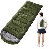 MMIAOO Saco de dormir individual para adultos, saco de dormir al aire libre – grueso cálido portátil bolsa de dormir de camping, bolsas de dormir rectangulares con cremallera (verde militar)