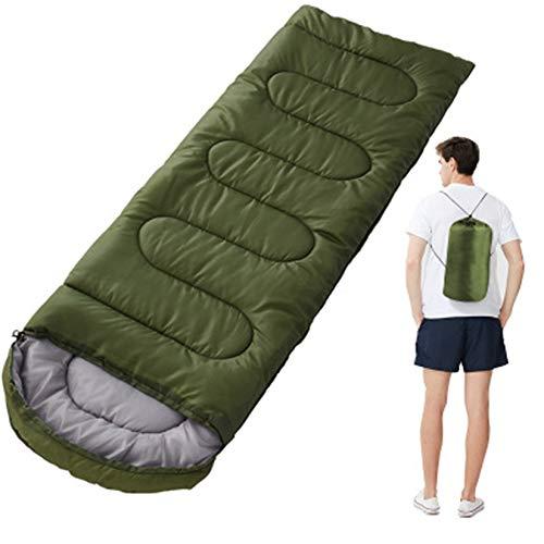 Mmiaoo - Sacco a pelo singolo per adulti, per esterni, sacco a pelo da campeggio e da campeggio, rettangolare, con borsa per il trasporto (verde militare)