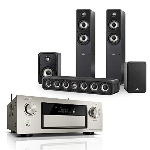 Denon AVRX4400H 9.2 Premium AV-Receiver (WLAN, Bluetooth, Amazon Music) silber + Polk Signature E Serie Lautsprecher-Set