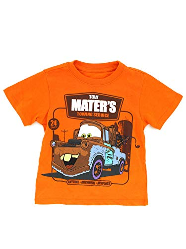 Disney Cars Toddler Short Sleeve Tee (3T, Orange Tow Mater Towing)