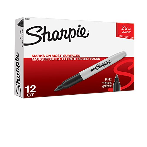 Sharpie Super Permanent Markers, Fine Point- Black (12 per Pack)