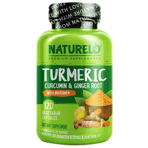 NATURELO Turmeric Curcumin - BioPerine for Better Absorption - Curcuminoids, Black Pepper, Ginger Powder - Plant-Based Joint Support - 120 Vegan Capsules