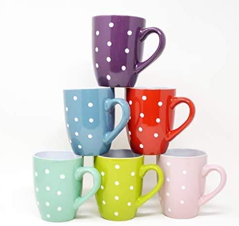 DRULINE 6er Set Kaffeetasse Kaffeepott Kaffeebecher Tassen Bürotasse Trinkbecher Becherset Mehrfarbig Kaffee Tee Milch Kakao Keramik Becher ca.400 ml (Ø x H) ca. 8,5 x 10 cm (Dots Farbe Kaffeebecher)