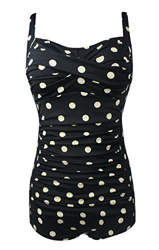 Bslingerie® - Costume da bagno da donna, stile retrò, taglie forti bianco e nero XL