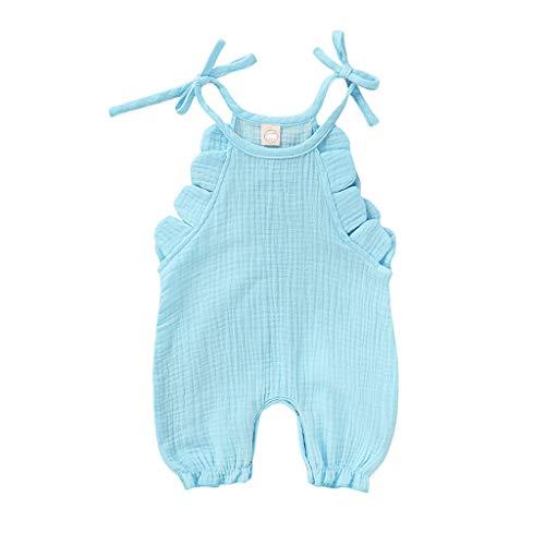 Baby Jongens Meisjes Romper Pasgeboren Kinderen Zomer Katoen Bodysuits Mouwloos Romper Unisex Jumpsuit Kleding pyjama Romper Effen Print Ruches Rompers 3-18 Maanden